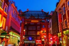 Chinatown in Londen, het UK, bij nacht stock afbeelding