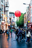 Chinatown in London. People stroll in Chinatown in London on October 10, 2013. With tens of restaurants, shops and bars, Chinatown is a popular touristic and Stock Photography