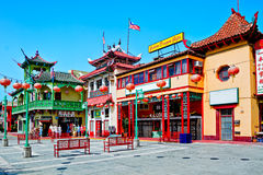 Chinatown In Los Angeles. Los Angeles - June 25, 2011:  Chinatown in Los Angeles was established in the 19th century as a residential area of the city for Royalty Free Stock Photo