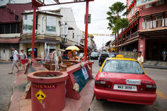 Chinatown in Malacca. MALACCA, MALAYSIA - CIRCA JANUARY, 2015: Chinatown with arch and fantan - a popular tourist center in Malacca. Malacca was included in the Stock Photos