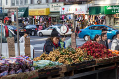 Chinatown market stalls in New York City royalty free stock photo