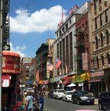 Chinatown, New York City. The bustling street in Chinatown, New York City royalty free stock image