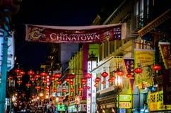 Chinatown nocy światła Obrazy Stock