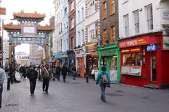 Chinatown - London, England. Chinatown is part of the City of Westminster, occupying the area in and around Gerrard Street. It contains a number of Chinese Royalty Free Stock Images