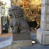 Chinatown`s Dragon Gate, guardian male lion, 3. royalty free stock photography