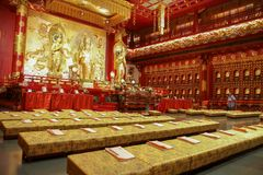 CHINATOWN,SINGAPORE - April 11, 2016:The interior view of the richely ornated Buddha Tooth relic temple in Chinatown,Singapore