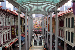 Chinatown singapore. SINGAPORE/SINGAPORE - CIRCA NOVEMBER 2015: View of Singapore's Chinatown district from the MRT subway station Stock Photos