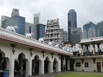 View from yard of Sri Mariamman - the oldest Hindu temple in Singapore. royalty free stock photo
