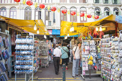 CHINATOWN, SINGAPORE - OCTOBER 12, 2015: Chinatown is place famo Stock Photography