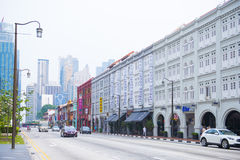 CHINATOWN, SINGAPORE OCTOBER 10, 2015: colorful historic architecture Stock Images