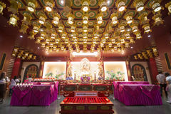 CHINATOWN, SINGAPORE - OCTOBER 12, 2015: interior of buddha toot. H relic temple & museum is a very famous in Chinatown, Singapore on October 12, 2015, building Stock Images