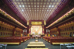 CHINATOWN, SINGAPORE - OCTOBER 12, 2015: interior of buddha toot. H relic temple & museum is a very famous in Chinatown, Singapore on October 12, 2015, building Royalty Free Stock Image