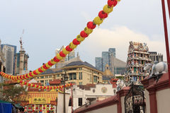 Chinatown Singapore Pagoda street with chinese lanterns and Gopuram tower of Sri Mariamman Temple Royalty Free Stock Image