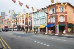 CHINATOWN, SINGAPUR 10 DE OCTUBRE DE 2015: archite histórico colorido Fotografía de archivo libre de regalías