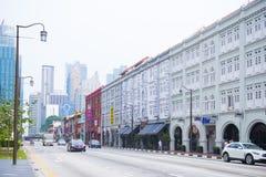 CHINATOWN, SINGAPUR AM 10. OKTOBER 2015: bunte historische Architektur Stockbilder