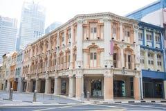CHINATOWN, SINGAPUR AM 10. OKTOBER 2015: bunte historische Architektur Lizenzfreie Stockfotos