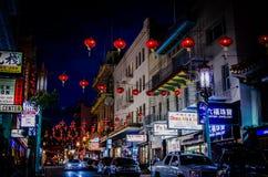 Chinatown streest przy nocą Zdjęcia Stock