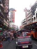 Chinatown street, Bangkok. Tipycal local transport in Chinatown street,Bangkok Stock Photos