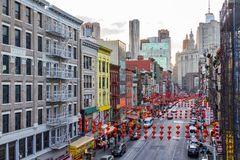 Chinatown Street Scene in New York City Royalty Free Stock Photos