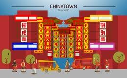 Chinatown in Thailand, Bangkok met mensen en tuk tuk vlak Stock Afbeelding