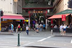 Chinatown-Tor ist größtes Chinatown in Australien stockbild