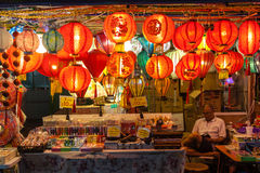 Chinatown Vendor Selling Lanterns and Souvenirs Stock Image