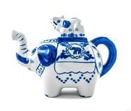 Chinaware Elephant figure teapot. Over white background Royalty Free Stock Photography