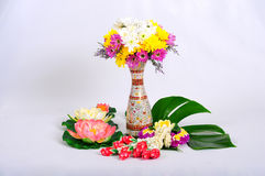 Chinaware with flora. Chinaware with flower white background royalty free stock photo