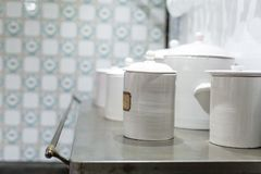 Chinaware in the kitchen. Close up stock images