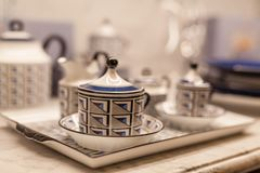Chinaware in the kitchen. Close up stock image