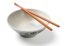 Chinaware, Porcelain,. Bowl old pattern and bamboo Chopstick on white background. Chinaware stock photos
