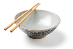 Chinaware, Porcelain,. Bowl old pattern and bamboo Chopstick on white background. Chinaware stock photo