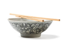 Chinaware, Porcelain,. Bowl old pattern and bamboo Chopstick on white background. Chinaware stock image