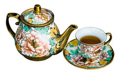 Chinaware tea pod and small drinking bowls Stock Photo