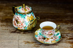 Chinaware tea pod and small drinking bowls Stock Image