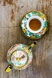 Chinaware tea pod and small drinking bowls Royalty Free Stock Photography