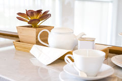 Chinaware tea set. Decorated at home stock photo