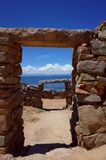 The Chincana Inca Ruins on the Isla del Sol on Lake Titicaca. Stone doorways at the Chincana Inca Ruins on the Isla del Sol on Lake Titicaca, the birthplace of Stock Photo