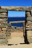 Chincana ruins at Island of the Sun, Titicaca lake, Bolivia royalty free stock images