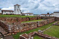 Chinchero Incas ruins along with colonial church, Peru Stock Photography