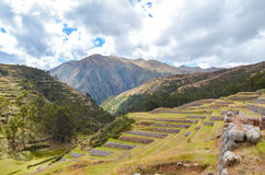 CHINCHERO PERU JUNI 3, 2013: Landskap av traditionella terrasser för ett Incalantbruk Arkivfoton