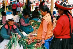 Chinchero Sunday market, Peru Royalty Free Stock Photos