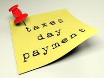 Chincheta roja en el pago del día de los impuestos de los posts que recuerda amarillos - representación 3D Fotos de archivo libres de regalías