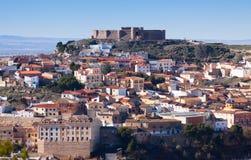 Chinchilla de Monte-Aragon with  castle at hill. Albacete, Spain Royalty Free Stock Photo
