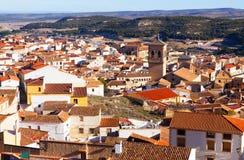 Chinchilla de Monte-Aragon from hill. Albacete. General view of Chinchilla de Monte-Aragon from hill. Albacete stock images
