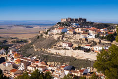 Chinchilla de Monte-Aragon with medieval castle at hill. Albacete, Spain Royalty Free Stock Photography