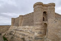 Castle of Chinchilla de Montearagon, province of Albacete, Spain. Chinchilla de Montearagon, Albacete, Spain; February 2017: Gate of castle of Chinchilla de royalty free stock images