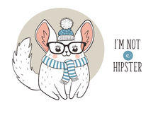 Chinchilla hipster poster Royalty Free Stock Photography