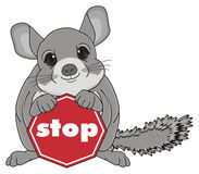 Chinchilla with road sign Royalty Free Stock Images