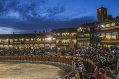 Chinchon的广场方形的市长适应了作为斗牛场,西班牙 库存图片
